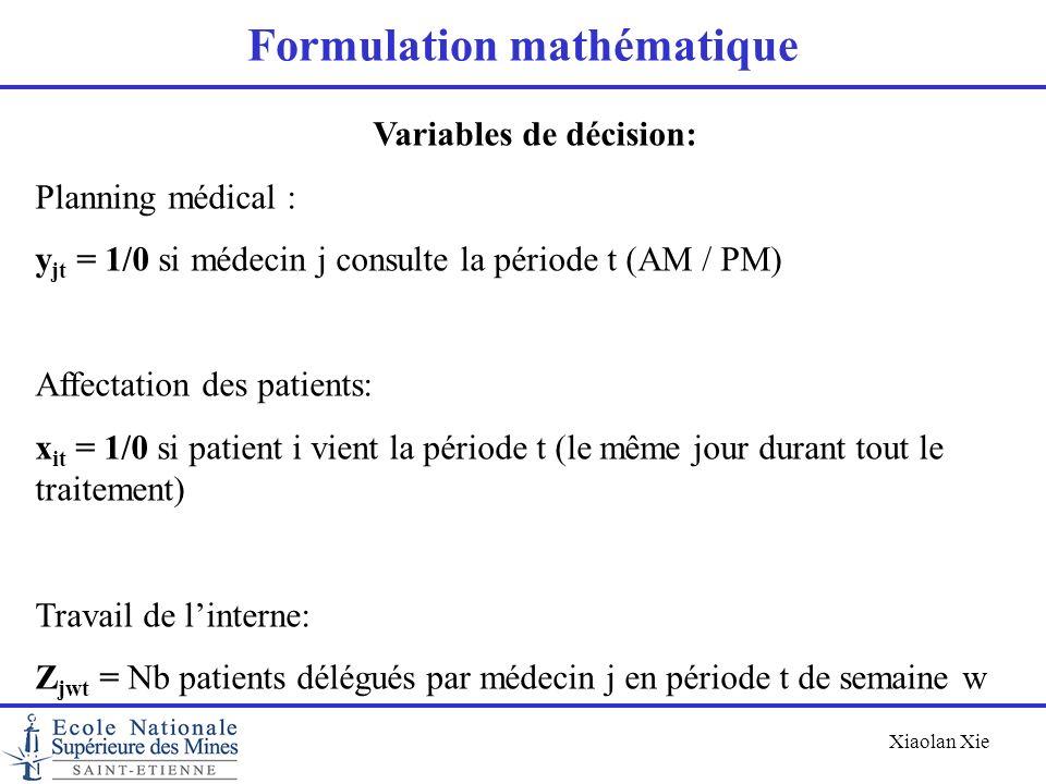 Xiaolan Xie Formulation mathématique Variables de décision: Planning médical : y jt = 1/0 si médecin j consulte la période t (AM / PM) Affectation des