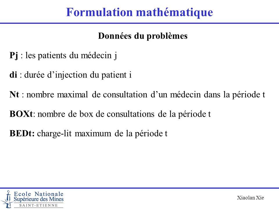 Xiaolan Xie Formulation mathématique Données du problèmes Pj : les patients du médecin j di : durée dinjection du patient i Nt : nombre maximal de con