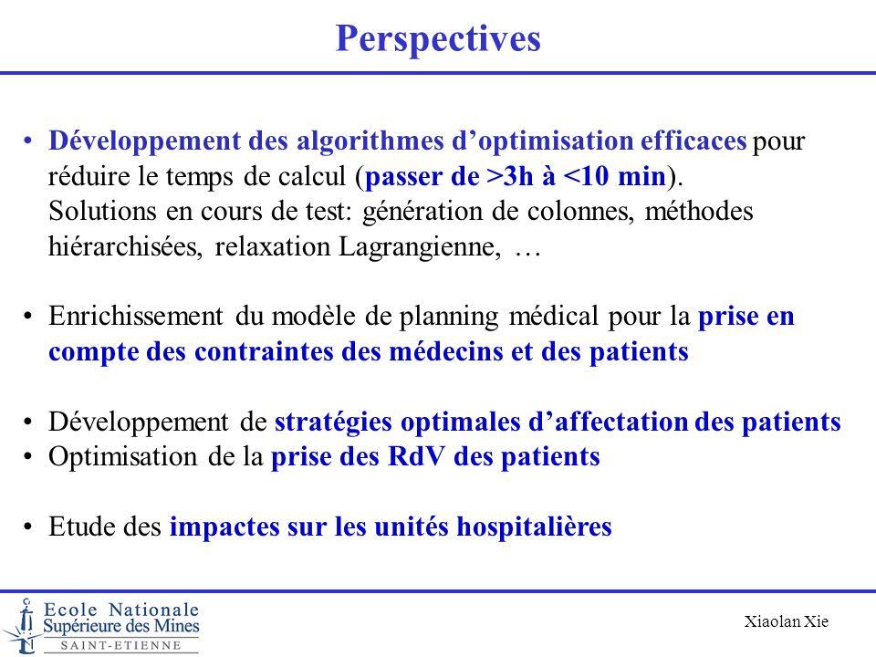 Xiaolan Xie Perspectives Développement des algorithmes doptimisation efficaces pour réduire le temps de calcul (passer de >3h à <10 min). Solutions en