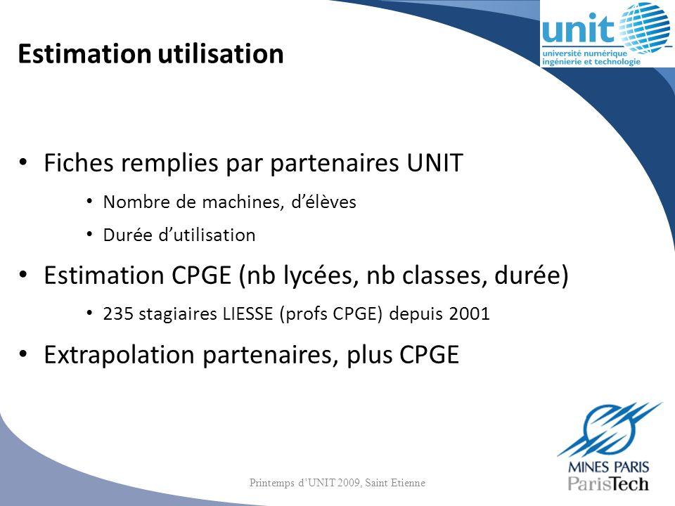 Estimation utilisation Fiches remplies par partenaires UNIT Nombre de machines, délèves Durée dutilisation Estimation CPGE (nb lycées, nb classes, dur