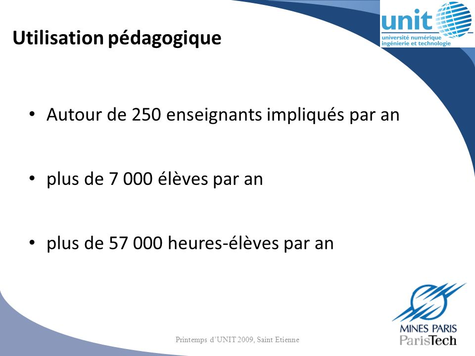 Utilisation pédagogique Autour de 250 enseignants impliqués par an plus de 7 000 élèves par an plus de 57 000 heures-élèves par an Printemps dUNIT 200