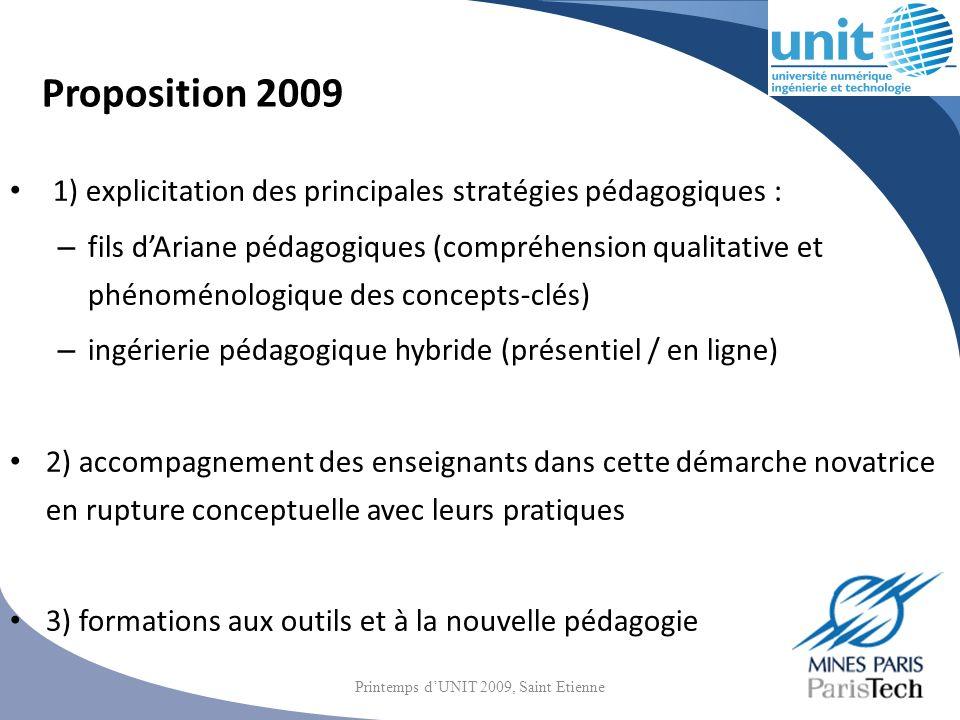 Proposition 2009 1) explicitation des principales stratégies pédagogiques : – fils dAriane pédagogiques (compréhension qualitative et phénoménologique