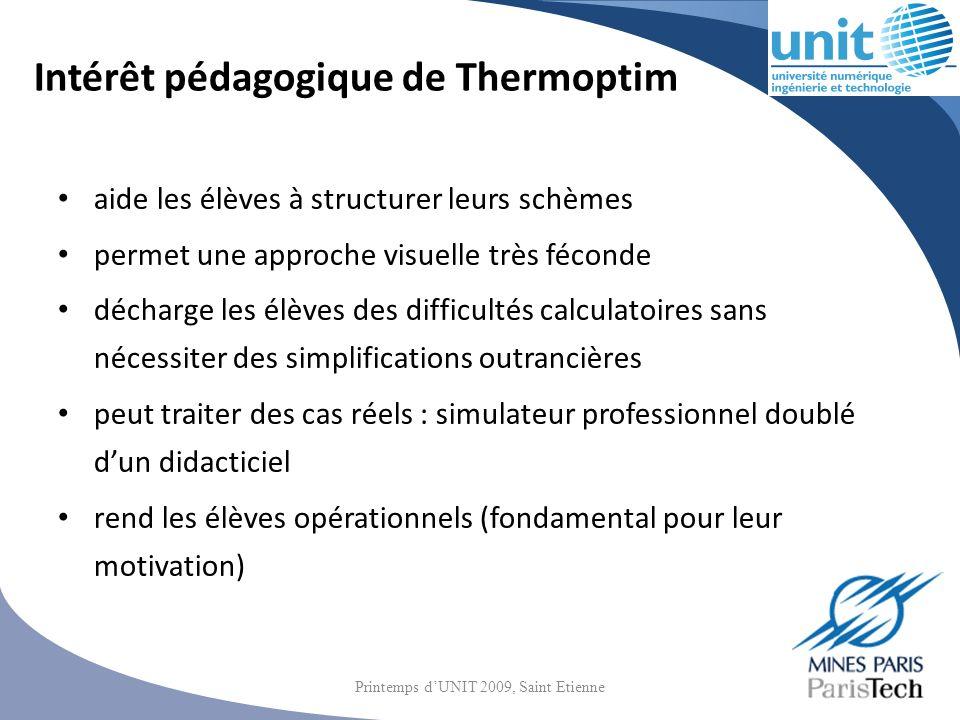 Intérêt pédagogique de Thermoptim aide les élèves à structurer leurs schèmes permet une approche visuelle très féconde décharge les élèves des difficu