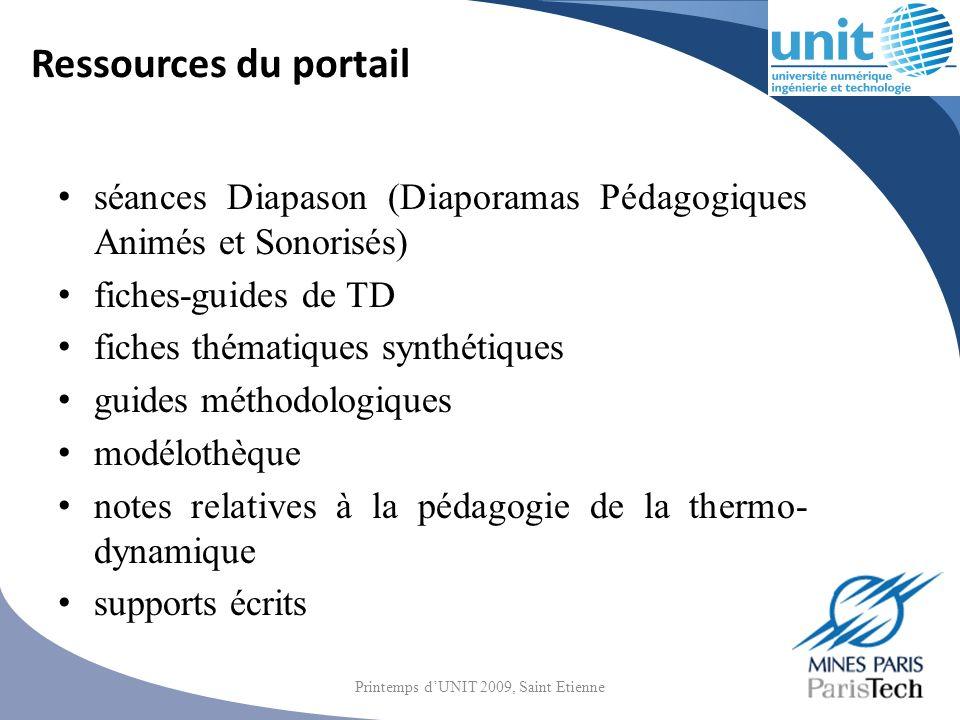 Ressources du portail séances Diapason (Diaporamas Pédagogiques Animés et Sonorisés) fiches-guides de TD fiches thématiques synthétiques guides méthod