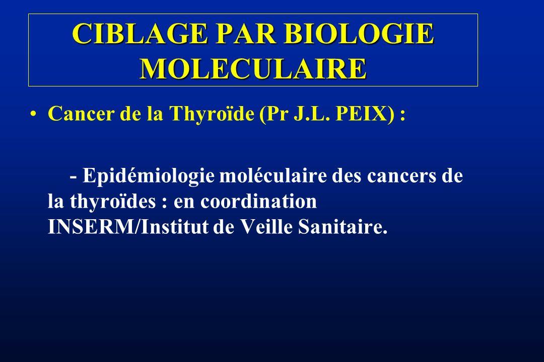Cancer de la Thyroïde (Pr J.L. PEIX) : - Epidémiologie moléculaire des cancers de la thyroïdes : en coordination INSERM/Institut de Veille Sanitaire.
