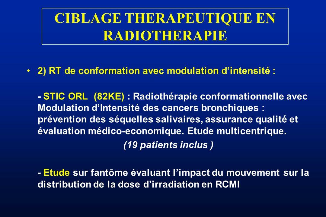 CIBLAGE THERAPEUTIQUE EN RADIOTHERAPIE 2) RT de conformation avec modulation dintensité : - STIC ORL (82KE) : Radiothérapie conformationnelle avec Mod