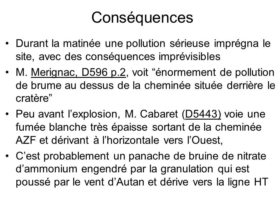 Conséquences Durant la matinée une pollution sérieuse imprégna le site, avec des conséquences imprévisibles M. Merignac, D596 p.2, voit énormement de