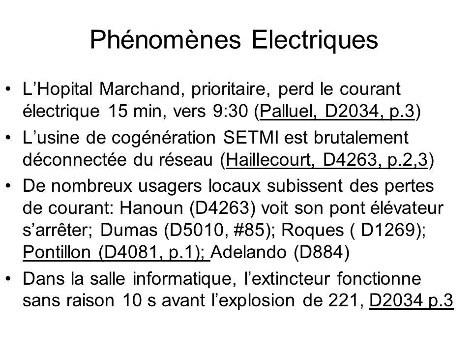 Phénomènes Electriques LHopital Marchand, prioritaire, perd le courant électrique 15 min, vers 9:30 (Palluel, D2034, p.3) Lusine de cogénération SETMI