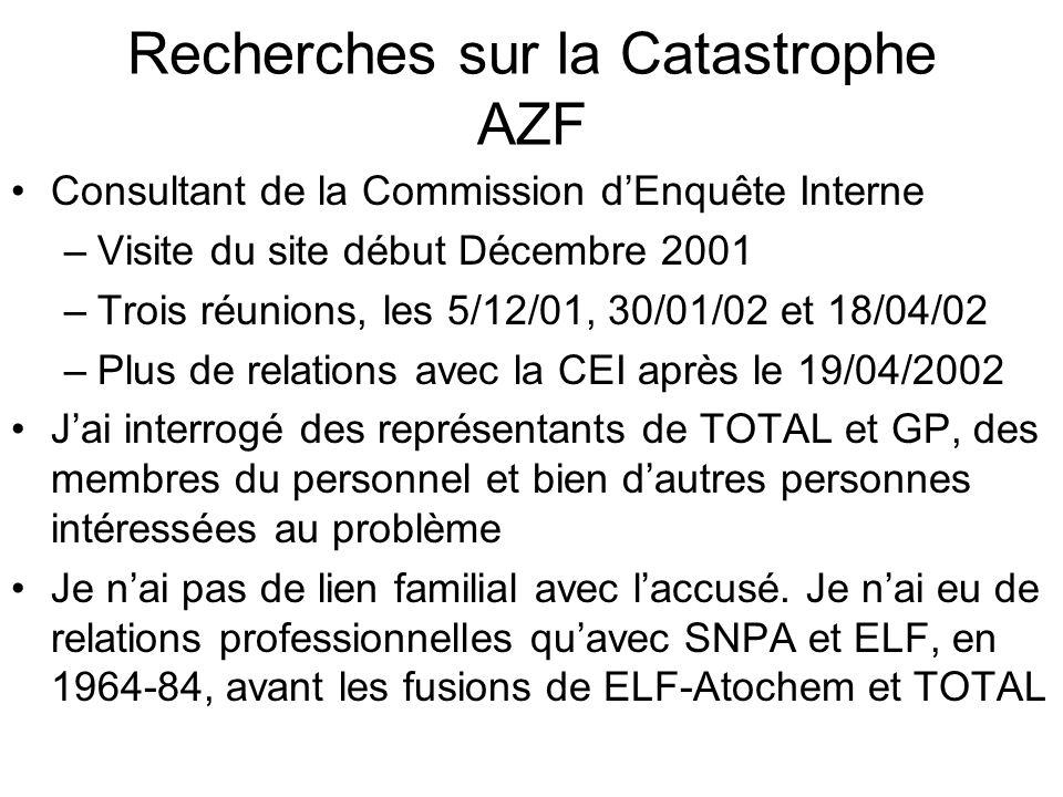 Recherches sur la Catastrophe AZF Consultant de la Commission dEnquête Interne –Visite du site début Décembre 2001 –Trois réunions, les 5/12/01, 30/01