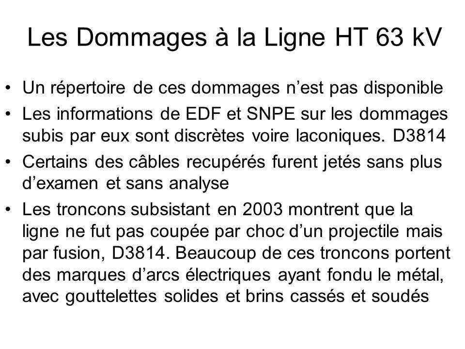 Les Dommages à la Ligne HT 63 kV Un répertoire de ces dommages nest pas disponible Les informations de EDF et SNPE sur les dommages subis par eux sont