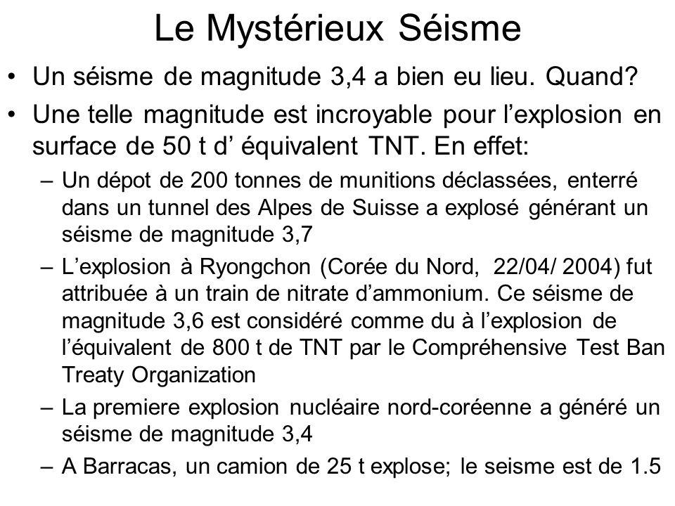 Le Mystérieux Séisme Un séisme de magnitude 3,4 a bien eu lieu. Quand? Une telle magnitude est incroyable pour lexplosion en surface de 50 t d équival