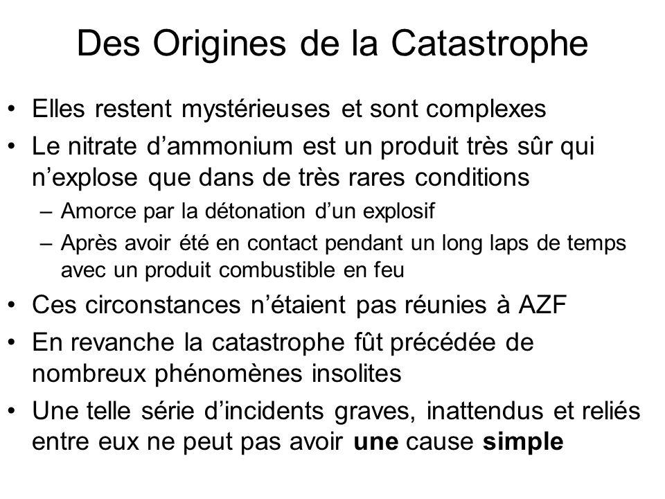 Des Origines de la Catastrophe Elles restent mystérieuses et sont complexes Le nitrate dammonium est un produit très sûr qui nexplose que dans de très