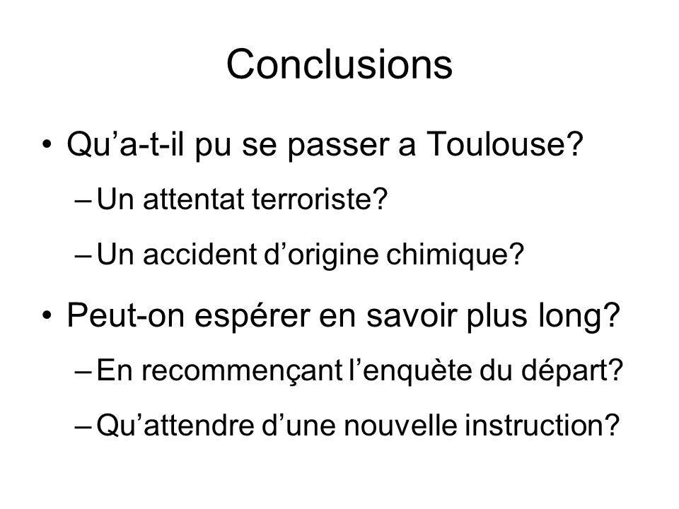 Conclusions Qua-t-il pu se passer a Toulouse? –Un attentat terroriste? –Un accident dorigine chimique? Peut-on espérer en savoir plus long? –En recomm
