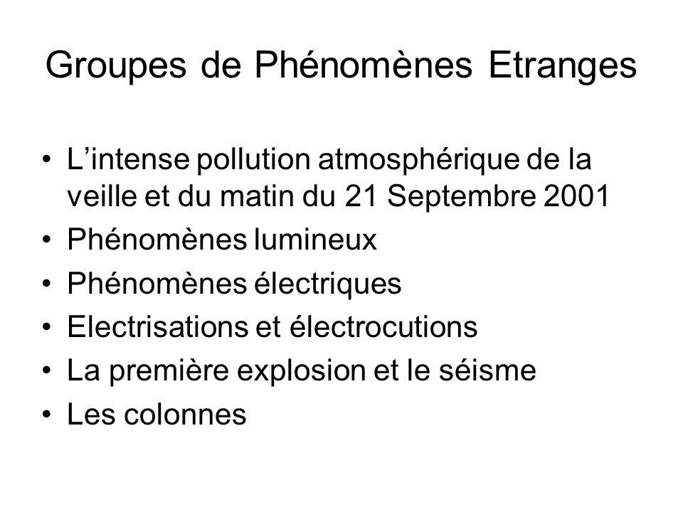 Groupes de Phénomènes Etranges Lintense pollution atmosphérique de la veille et du matin du 21 Septembre 2001 Phénomènes lumineux Phénomènes électriqu