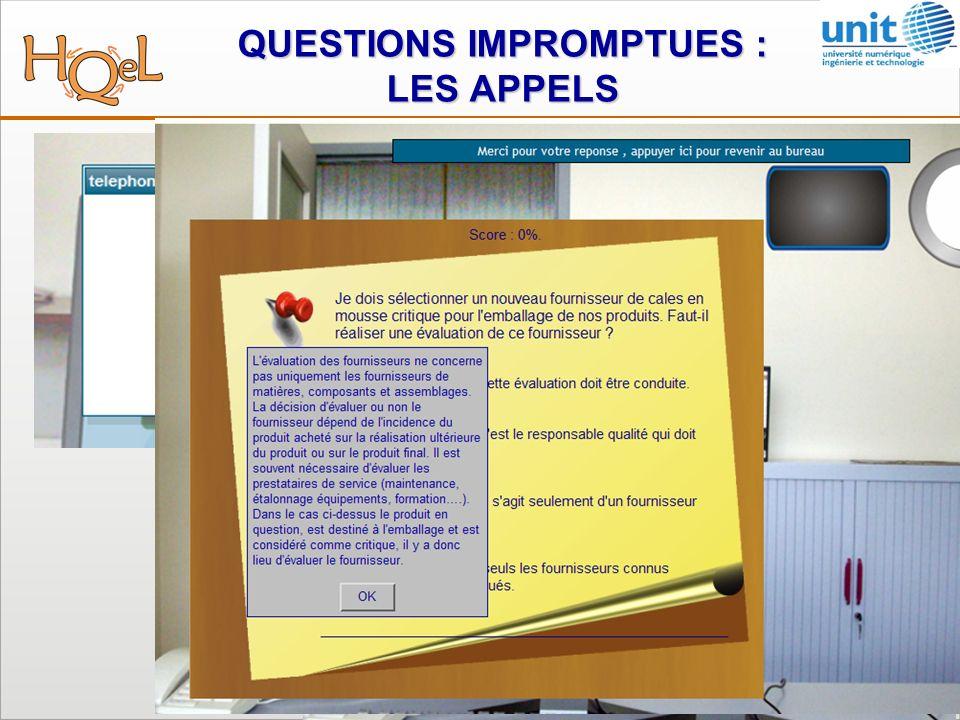 QUESTIONS IMPROMPTUES : LES APPELS