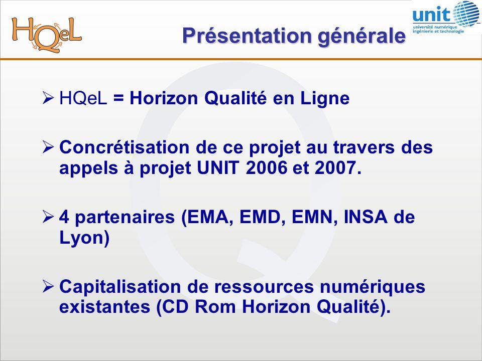 Présentation générale HQeL = Horizon Qualité en Ligne Concrétisation de ce projet au travers des appels à projet UNIT 2006 et 2007.
