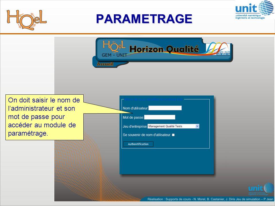 PARAMETRAGE On doit saisir le nom de ladministrateur et son mot de passe pour accéder au module de paramétrage.