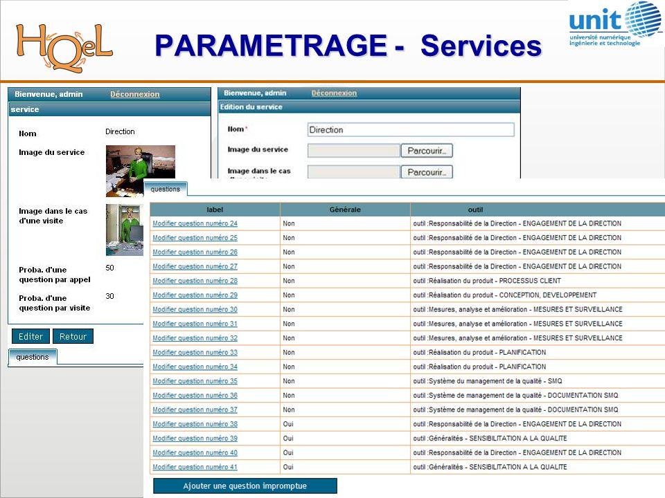 PARAMETRAGE - Services