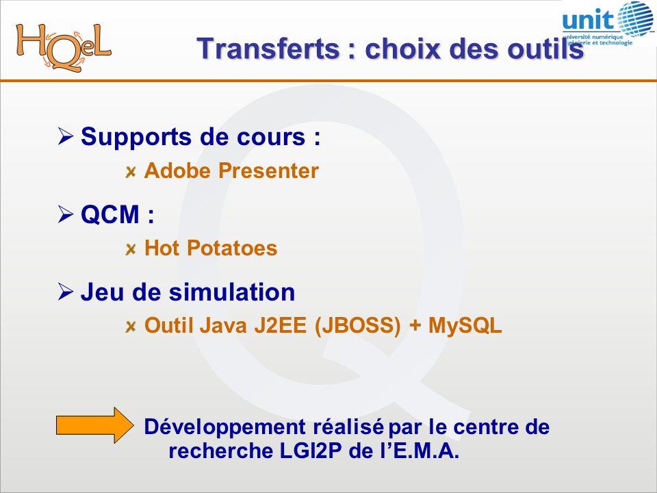Transferts : choix des outils Supports de cours : Adobe Presenter QCM : Hot Potatoes Jeu de simulation Outil Java J2EE (JBOSS) + MySQL Développement réalisé par le centre de recherche LGI2P de lE.M.A.
