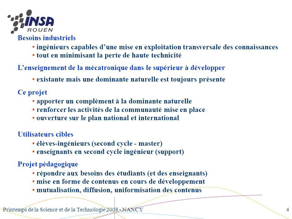 Printemps de la Science et de la Technologie 2008 - NANCY4 Besoins industriels ingénieurs capables dune mise en exploitation transversale des connaiss