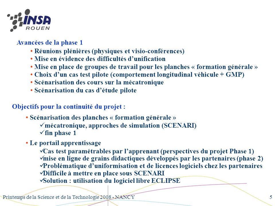 Printemps de la Science et de la Technologie 2008 - NANCY5 Avancées de la phase 1 Réunions plénières (physiques et visio-conférences) Mise en évidence