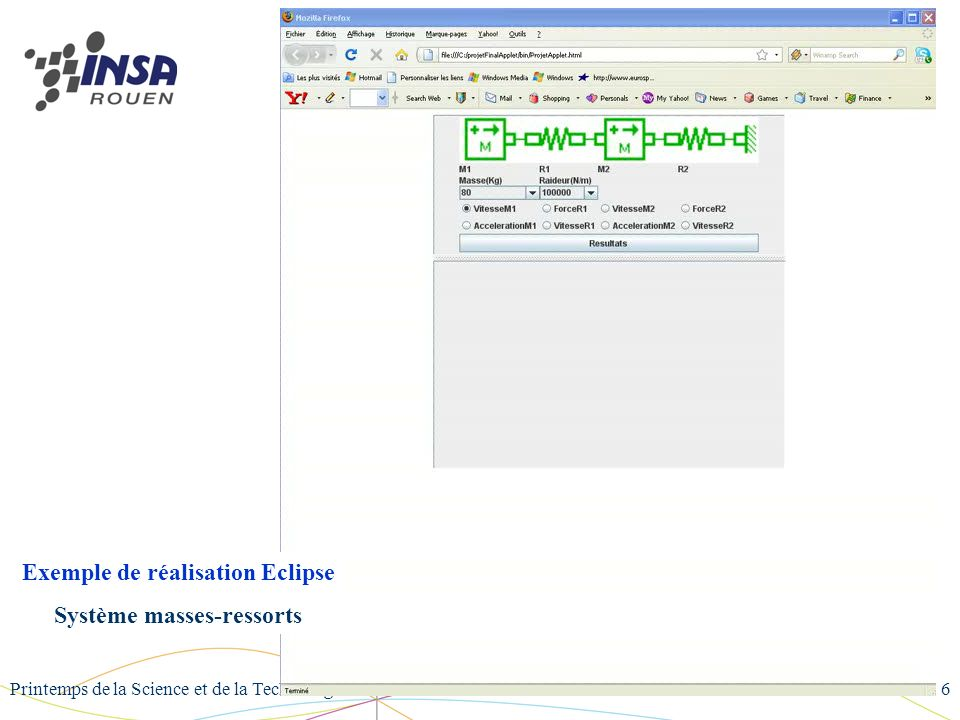 Printemps de la Science et de la Technologie 2008 - NANCY6 Exemple de réalisation Eclipse Système masses-ressorts