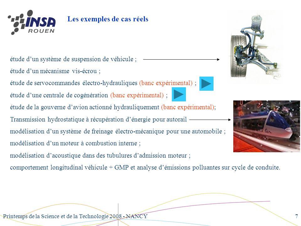 Printemps de la Science et de la Technologie 2008 - NANCY7 étude dun système de suspension de véhicule ; étude dun mécanisme vis-écrou ; étude de serv