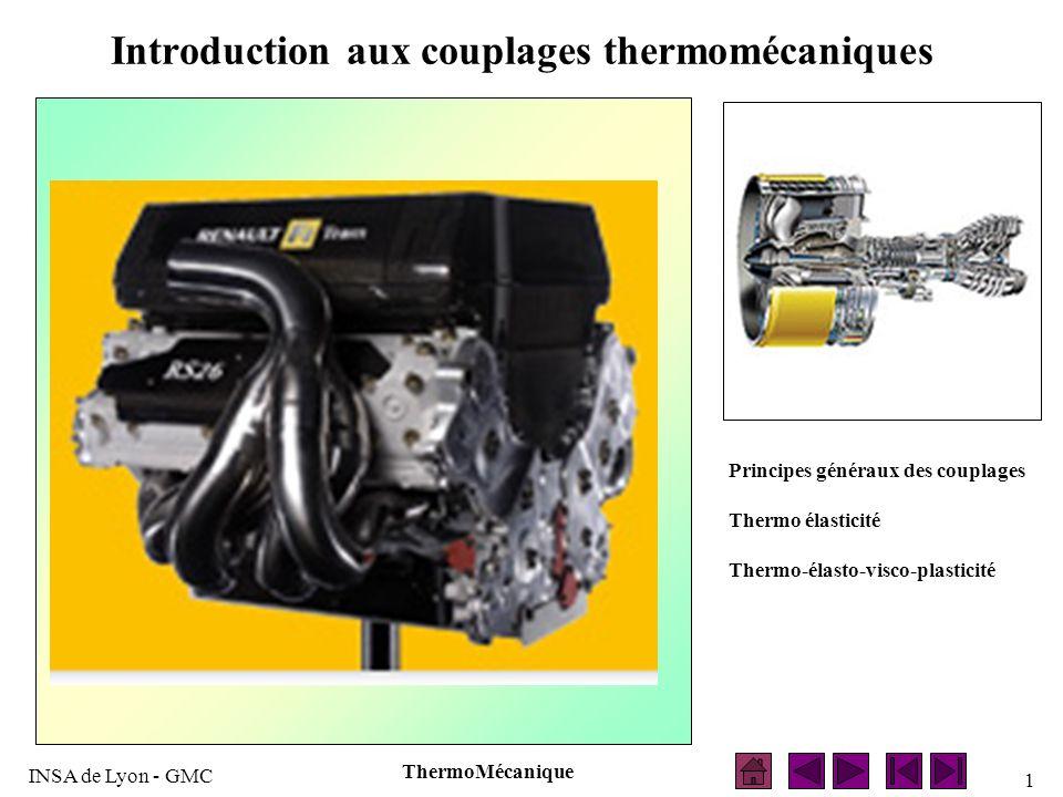 INSA de Lyon - GMC ThermoMécanique 2 INTRODUCTION Thermodynamique Science des Matériaux Mécanique Thermomécanique La thermomécanique associe les phénomènes décrits par la Mécanique, la Thermodynamique, et la Science des Matériaux.