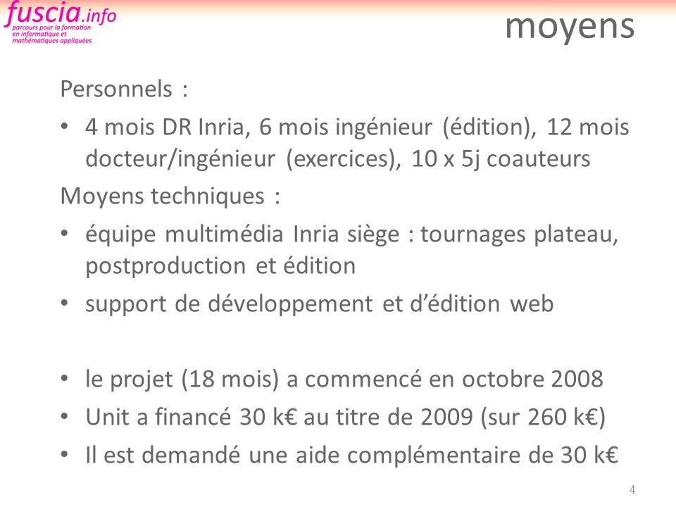 moyens Personnels : 4 mois DR Inria, 6 mois ingénieur (édition), 12 mois docteur/ingénieur (exercices), 10 x 5j coauteurs Moyens techniques : équipe m