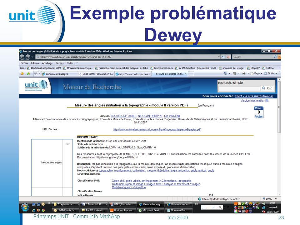 Exemple problématique Dewey Printemps UNIT - Comm Info-MathApp mai 200923