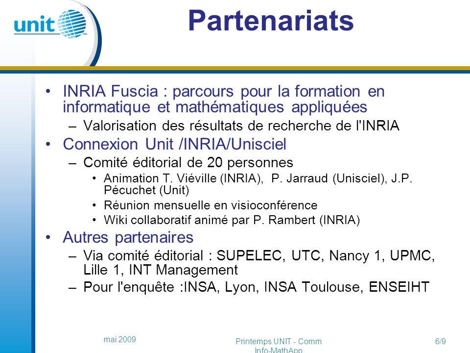 http://fuscia.info/ressources http://fuscia.info/ressources un exemple d usage mai 2009 Printemps UNIT - Comm Info-MathApp 17/9