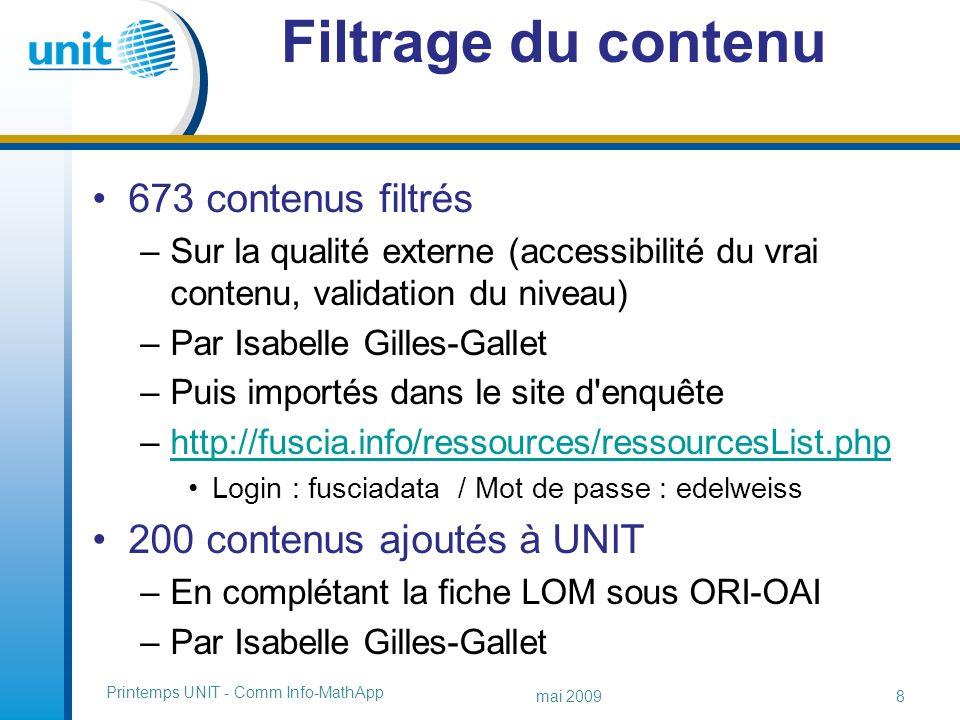 http://fuscia.info/ressources http://fuscia.info/ressources liste des contenus mai 2009 Printemps UNIT - Comm Info-MathApp 9/9