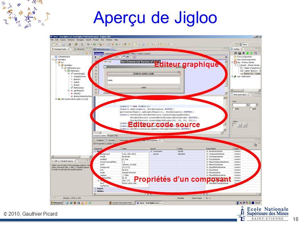 © 2010, Gauthier Picard 18 Aperçu de Jigloo Propriétés d'un composant Editeur code source Editeur graphique