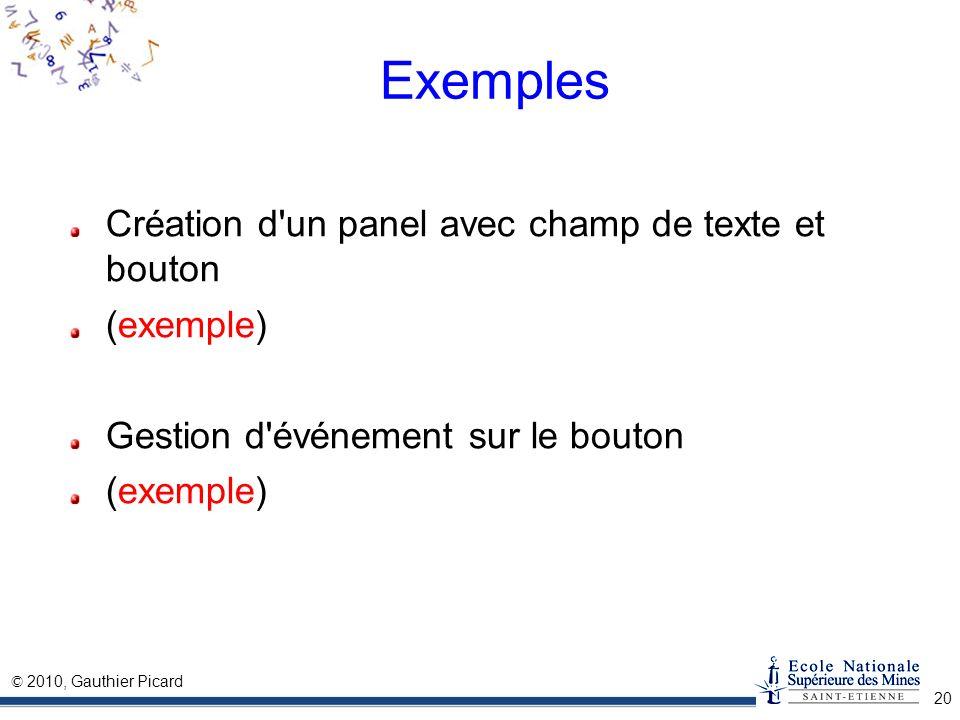 © 2010, Gauthier Picard 20 Exemples Création d'un panel avec champ de texte et bouton (exemple) Gestion d'événement sur le bouton (exemple)