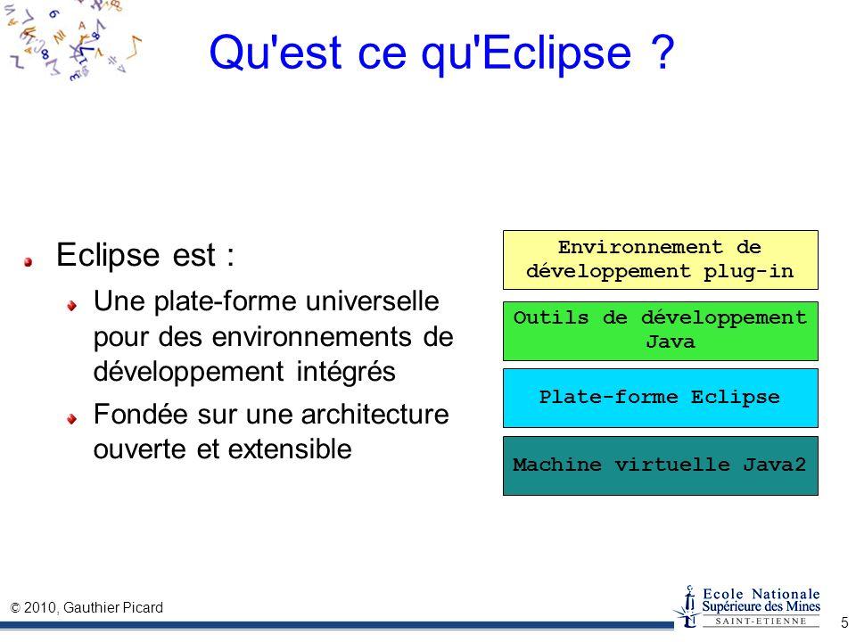 © 2010, Gauthier Picard 6 Propriétés de la plate-forme C est un logiciel Gratuit : licence OpenSource Portable : écrit en Java C est un IDE Générique : indépendant de tout langage Extensible : par l ajout de plug-in Convivial : assistance au développeur(s)