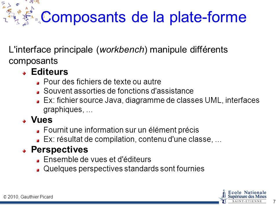 © 2010, Gauthier Picard 7 Composants de la plate-forme L'interface principale (workbench) manipule différents composants Editeurs Pour des fichiers de