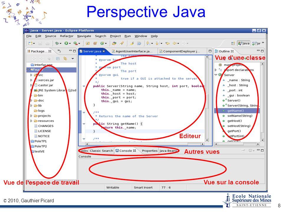 © 2010, Gauthier Picard 8 Perspective Java Editeur Vue d'une classe Vue de l'espace de travail Vue sur la console Autres vues