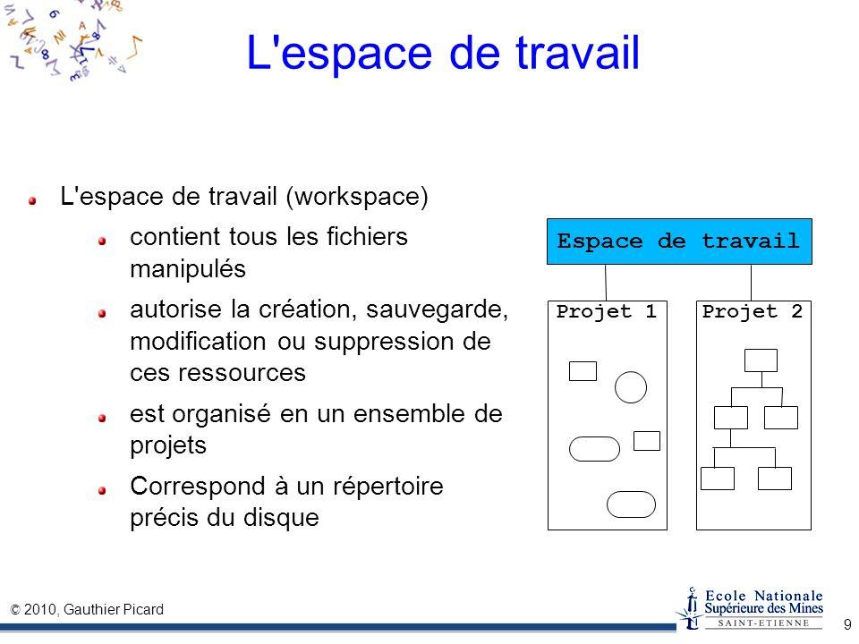 © 2010, Gauthier Picard 9 L'espace de travail L'espace de travail (workspace) contient tous les fichiers manipulés autorise la création, sauvegarde, m