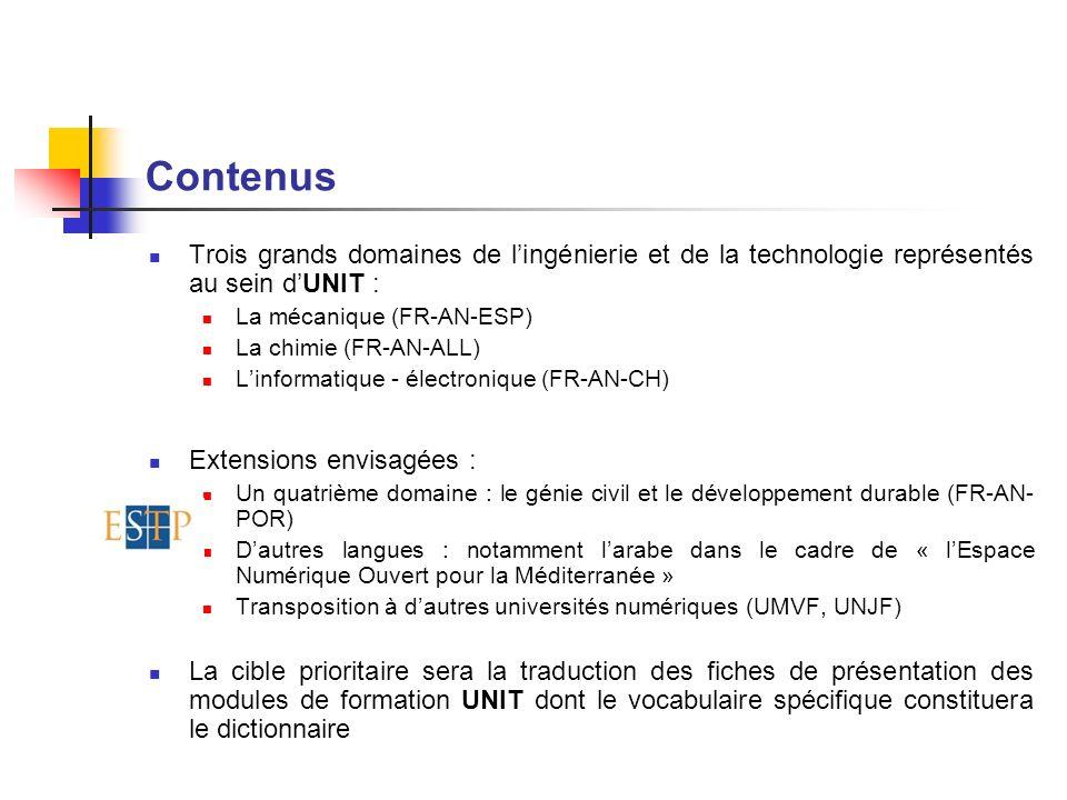 Contenus Trois grands domaines de lingénierie et de la technologie représentés au sein dUNIT : La mécanique (FR-AN-ESP) La chimie (FR-AN-ALL) Linforma