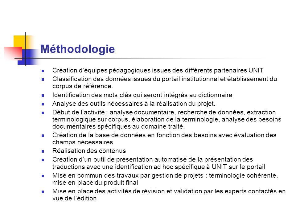 Méthodologie Création déquipes pédagogiques issues des différents partenaires UNIT Classification des données issues du portail institutionnel et étab