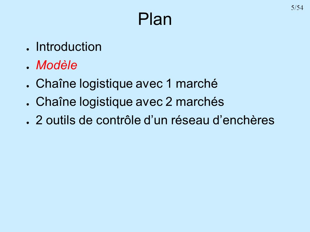 5/54 Plan Introduction Modèle Chaîne logistique avec 1 marché Chaîne logistique avec 2 marchés 2 outils de contrôle dun réseau denchères