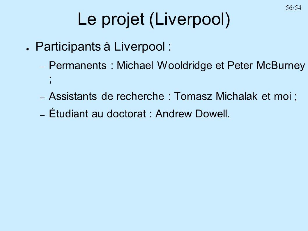 56/54 Le projet (Liverpool) Participants à Liverpool : – Permanents : Michael Wooldridge et Peter McBurney ; – Assistants de recherche : Tomasz Michal