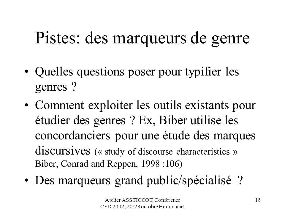Atelier ASSTICCOT, Conférence CFD 2002, 20-23 octobre Hammamet 18 Pistes: des marqueurs de genre Quelles questions poser pour typifier les genres ? Co