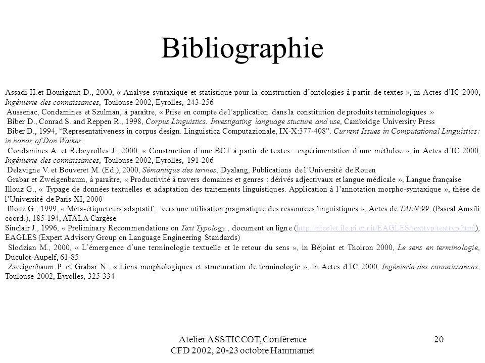 Atelier ASSTICCOT, Conférence CFD 2002, 20-23 octobre Hammamet 20 Bibliographie Assadi H.et Bourigault D., 2000, « Analyse syntaxique et statistique p