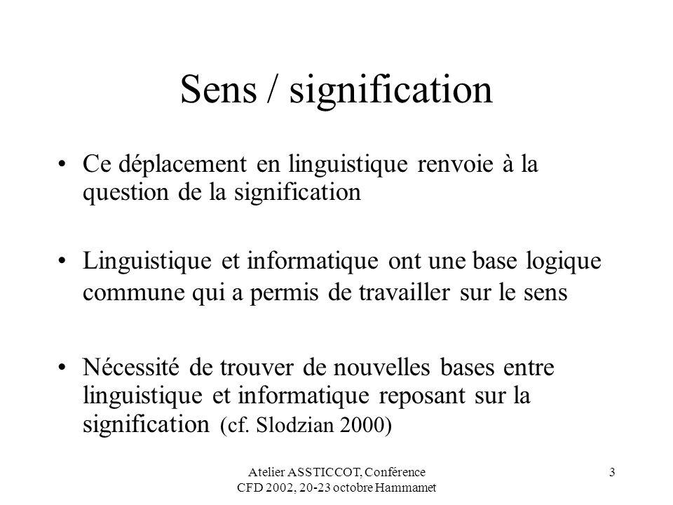 Atelier ASSTICCOT, Conférence CFD 2002, 20-23 octobre Hammamet 3 Sens / signification Ce déplacement en linguistique renvoie à la question de la signi