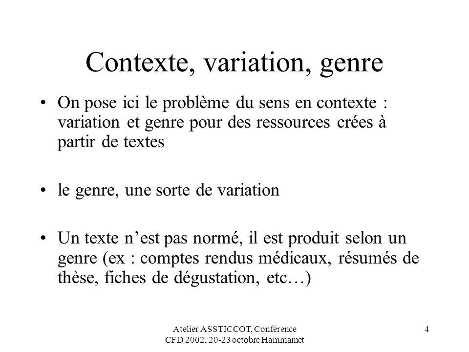 Atelier ASSTICCOT, Conférence CFD 2002, 20-23 octobre Hammamet 4 Contexte, variation, genre On pose ici le problème du sens en contexte : variation et