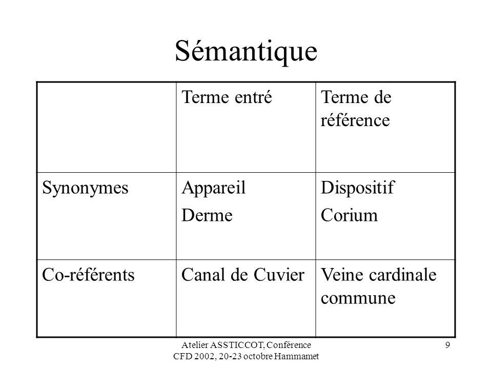 Atelier ASSTICCOT, Conférence CFD 2002, 20-23 octobre Hammamet 9 Sémantique Terme entréTerme de référence SynonymesAppareil Derme Dispositif Corium Co