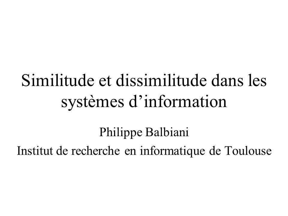 Similitude et dissimilitude dans les systèmes dinformation Philippe Balbiani Institut de recherche en informatique de Toulouse