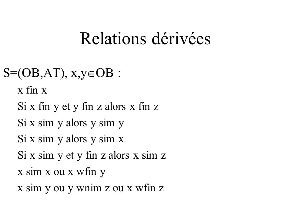 Relations dérivées S=(OB,AT), x,y OB : x fin x Si x fin y et y fin z alors x fin z Si x sim y alors y sim y Si x sim y alors y sim x Si x sim y et y f