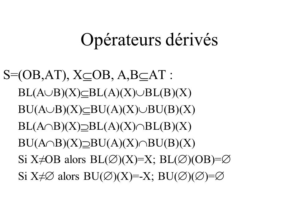 Opérateurs dérivés S=(OB,AT), X OB, A,B AT : BL(A B)(X) BL(A)(X) BL(B)(X) BU(A B)(X) BU(A)(X) BU(B)(X) BL(A B)(X) BL(A)(X) BL(B)(X) BU(A B)(X) BU(A)(X) BU(B)(X) Si XOB alors BL( )(X)=X; BL( )(OB)= Si X alors BU( )(X)=-X; BU( )( )=